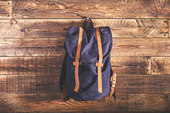Canvas and leather backpack Royalty Free Stock Photography