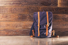 Canvas and leather backpack Stock Photos