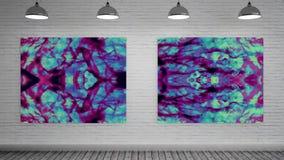 Canvas met vloeibare explosie bij kunstgalerie royalty-vrije illustratie