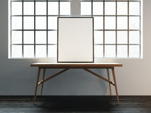 Canvas mockup on the table near the window in white loft. 3D ren Stock Photography