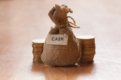 Canvas money sack Royalty Free Stock Images