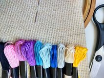 Canvas, needle and moulinet threads for cross stitch photo royalty free stock photo