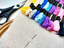 Canvas, needle and moulinet threads for needlework royalty free stock images