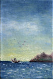 Canvas Oil Painting of Boat at Sea Stock Image