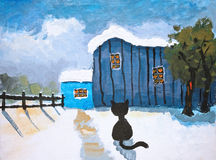 Canvas oil painting of a snow covered barn and a cat Stock Images