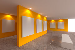 Canvas on orange wall in the gallery Stock Photography
