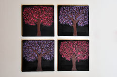 4 canvas. $ canvas painting of a blooming trees Royalty Free Stock Photos