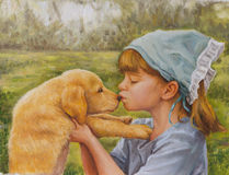 On canvas portrait of a little girl and her dog Stock Photo