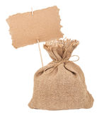 Canvas  sack with cardboard sign Royalty Free Stock Photos