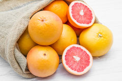 A canvas sack full of  grapefruit Royalty Free Stock Photography