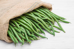 Canvas sack full of green beans Stock Image