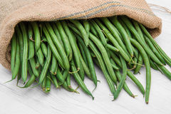 Canvas sack full of green beans Stock Photo
