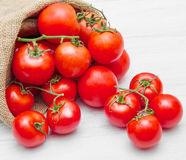 Canvas sack full of  red cherry tomatoes Royalty Free Stock Images