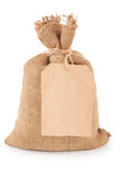 Canvas sack with tag Royalty Free Stock Photography