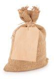 Canvas sack with tag Stock Photos