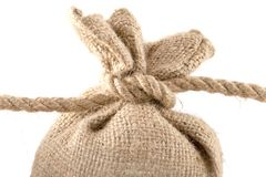 Canvas sack tied with a rope Stock Images