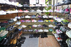 Canvas shoes second hand shop at the night market Royalty Free Stock Images