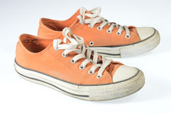Canvas shoes. Under the white background Royalty Free Stock Photos