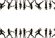 canvas Siluette disegnate a mano di vettore dell'giocatori di baseball C royalty illustrazione gratis