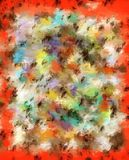 Canvas of Smudged Orange. Canvas is covered in smudged and smeared color including orange, aqua, brown, yellow and white Stock Photo