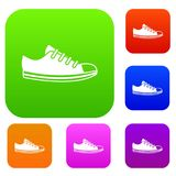 Canvas sneaker set collection. Canvas sneaker set icon in different colors isolated vector illustration. Premium collection Stock Photos