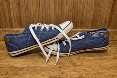 Canvas sneakers blue Royalty Free Stock Photo