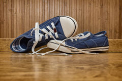 Canvas sneakers blue Stock Photo