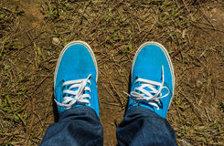 Canvas sneakers with jeans Royalty Free Stock Photo