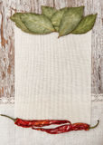 Canvas, spices and linen fabric on the old wood Stock Images