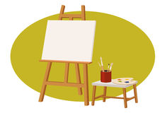 Canvas stand. With a empty canvas, palette, and brush Royalty Free Stock Photo