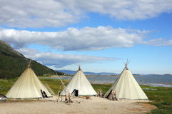Canvas teepee. (wigwams) in landscape royalty free stock photos