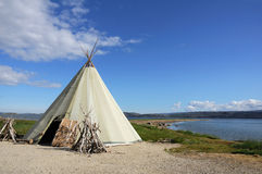 Canvas teepee. (wigwams) in landscape Stock Photography