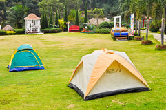Canvas tent on lawn. Canvas tent is placed on the lawn at the resort Royalty Free Stock Image