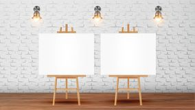 Canvas On Tripod For Collective Drawing Vector. Wooden Drawing Easel With Blank White Sheet, Glowing Sconces On Brick Wall Decoration Of Room For Art Courses royalty free illustration