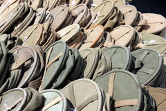 Canvas water bags. Military canvas water bags on display for sale Stock Images