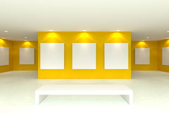 Canvas on yellow wall in the gallery. Empty room interior with white canvas on yellow wall in the gallery vector illustration