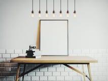 Canvasmalplaatje op de lijst in witte ruimte het 3d teruggeven Royalty-vrije Stock Afbeelding