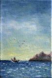 Canvasolieverfschilderij van Boot op zee Stock Afbeelding