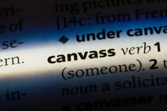 Canvass. Word in a dictionary.  concept stock image
