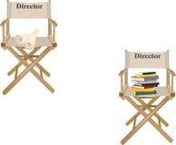 Canvasstoel met schrijvende directeur royalty-vrije illustratie
