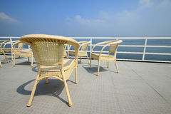 Cany chair on ship's deck Royalty Free Stock Image