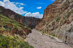 Canyon在拉巴斯,玻利维亚附近的de Palca 图库摄影