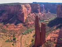 Canyon在日落的de Chelly顶视图  库存照片