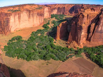 Canyon在日落的de Chelly顶视图  免版税库存照片