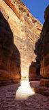Canyon (Al-Siq) to the ancient city of Petra in Jordan Stock Photo