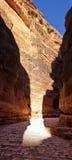 Canyon (Al-Siq) to the ancient city of Petra in Jordan Stock Photo