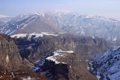 The canyon of Azat river and Symphony of Stones near Garni in winter. One section of the Azat, where it meets River Goght, is particularly fascinating. It is a Stock Photography