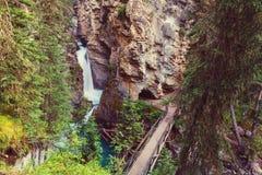 Canyon in Banff NP. Johnston Canyon in Banff NP, Canada. Beautiful natural landscapes in British Columbia. Summer season royalty free stock photos