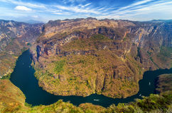 Canyon Bend. View from above the Sumidero Canyon in Chiapas, Mexico Royalty Free Stock Photo