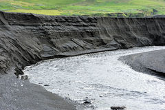 Canyon in black volcanic sand. View of canyon in black volcanic sand Royalty Free Stock Photography